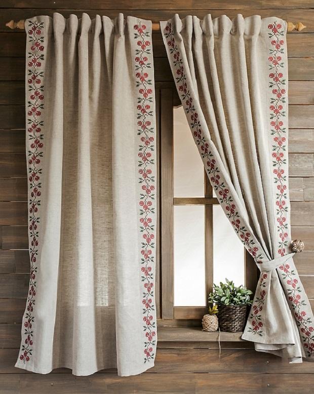 На фото – кухонные шторы из льна