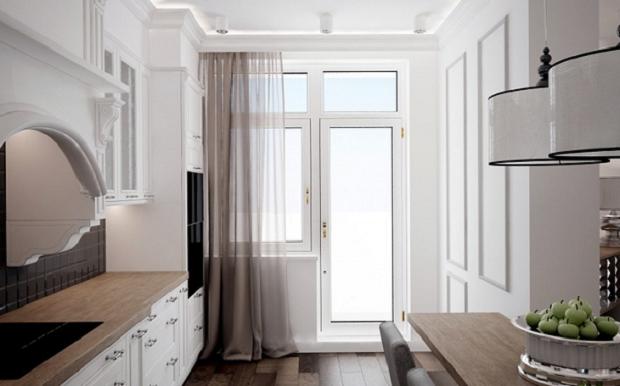 На фото – кухонные тюлевые шторы