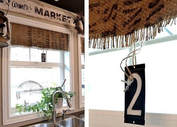 На фото – кухонные шторы из джутовой ткани